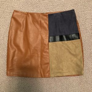 Faux leather and suede skirt!